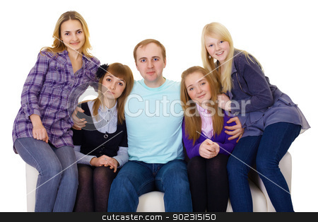 Big family on couch - four women and one man stock photo, Big family on the couch - four women and one man only isolated on white background by Alexey Romanov