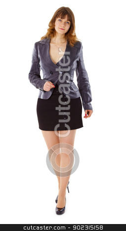 Beautiful young woman in business suit stock photo, A beautiful young woman in a business suit isolated on white background by Alexey Romanov
