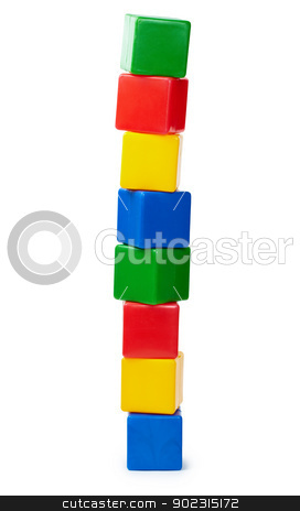 Tower of color cubes isolated on white stock photo, Tower of colored cubes toy isolated on white background by Alexey Romanov