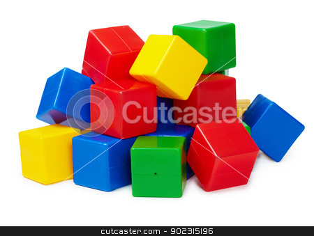 Pile of colored toy blocks on white stock photo, Pile of colored toy blocks isolated on white background by Alexey Romanov
