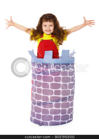 Little funny girl jumped from basket stock photo, Little funny girl jumped from the basket isolated on white background by Alexey Romanov