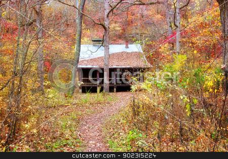 settlers cabin in missouri stock photo, old settlers log cabin in missouri in fall by Phil Morley