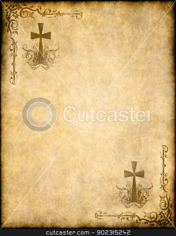 christian cross on old paper or parchment stock photo, christian cross on old paper or parchment background texture by Phil Morley