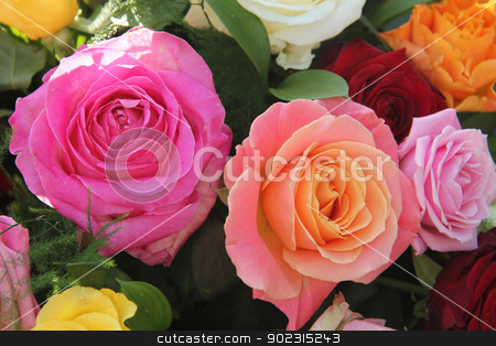 Multicolored roses in flower arrangement stock photo, Multicolored roses in a flower arrangement by Porto Sabbia