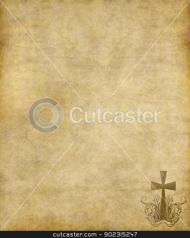 汯慰数牯瀠牡档敭瑮 stock photo, christian cross on old paper or parchment background texture by Phil Morley