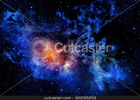 starry deep outer space nebual and galaxy stock photo, deep outer space background with stars and nebula by Phil Morley