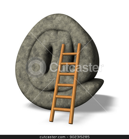 stone email symbol stock photo, stone email symbol and ladder - 3d illustration by J?