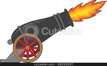 Cannon stock vector clipart, A black cannon attached to a wheeled carriage, belches fire from it's muzzle. by Maria Bell