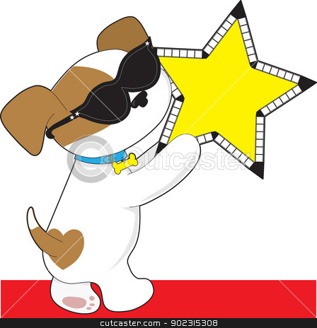 Cute Puppy Star stock vector clipart, A cute puppy wearing sunglasses appears to love Hollywood, as it holds a cinema star. by Maria Bell