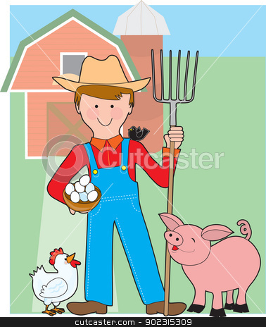 Farmer and Pig stock vector clipart, A smiling farmer stands in his barnyard with a pitch fork in his hand and his happy farm animals all around. by Maria Bell