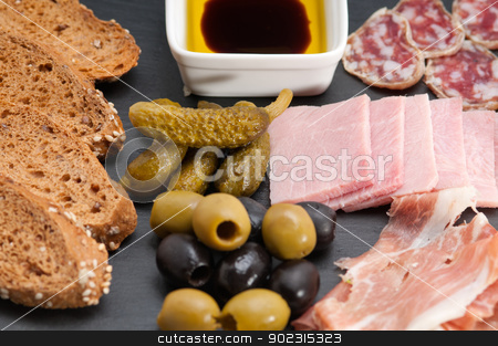 assorted cold cut platter stock photo, assorted fresh cold cut platter Italian appetizer by Francesco Perre