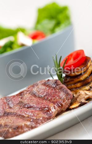 grilled Kobe Miyazaky beef stock photo, grilled Kobe Miyazaky beef with fresh vegetables by Francesco Perre