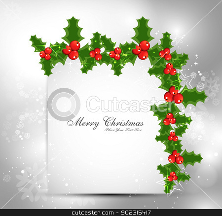 Holly berry merry christmas card vector design stock vector clipart, Holly berry merry christmas card vector design by bharat pandey