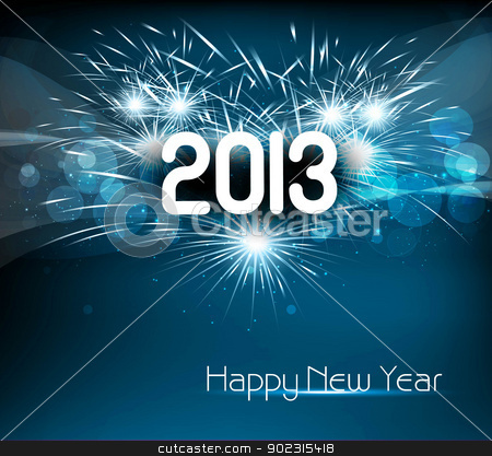 Happy new year 2013 blue colorful celebration vector background stock vector clipart, Happy new year 2013 blue colorful celebration vector background by bharat pandey