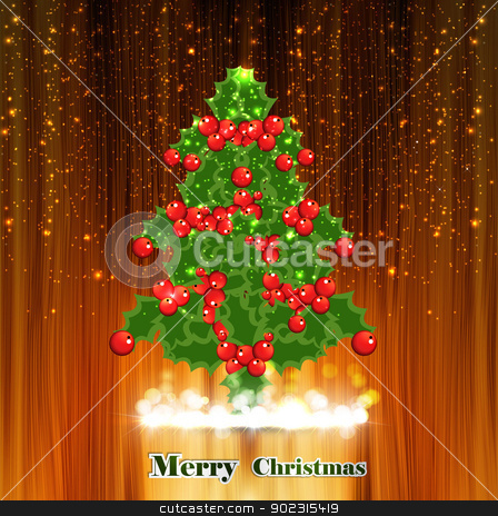 Holly berry merry christmas tree wood texture vector background stock vector clipart, Holly berry merry christmas tree wood texture vector background by bharat pandey