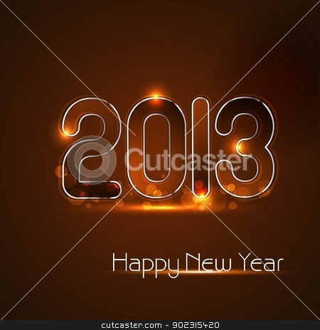 Happy new year glossy 2013 colorful celebration vector design stock vector clipart, Happy new year glossy 2013 colorful celebration vector design by bharat pandey