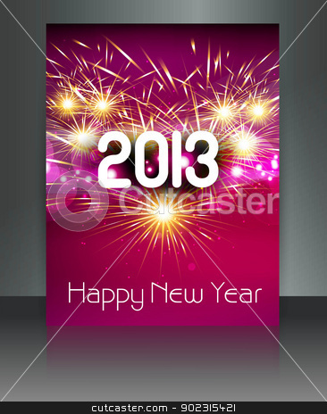 2013 new year celebration colorful gift card vector design stock vector clipart, 2013 new year celebration colorful gift card vector design by bharat pandey