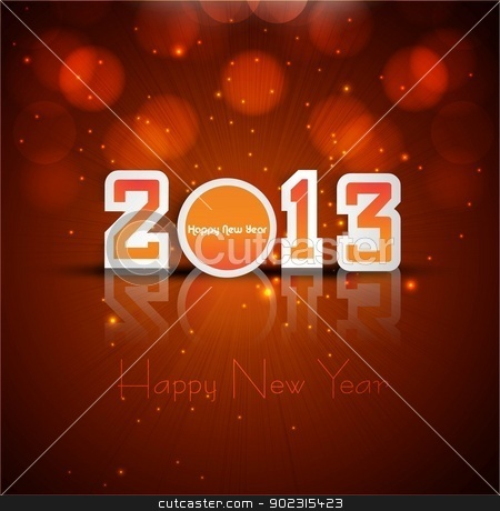 2013 new year reflection celebration colorful card vector backgr stock vector clipart, 2013 new year reflection celebration colorful card vector background by bharat pandey