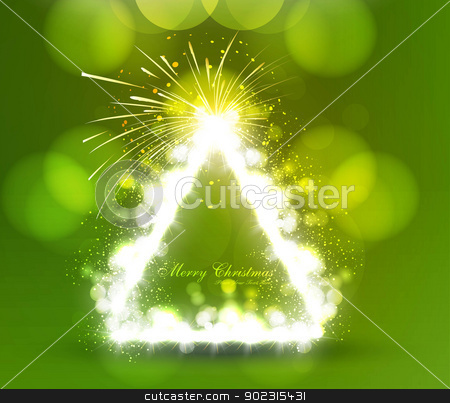 Merry christmas tree vector colorful green background stock vector clipart, Merry christmas tree vector colorful green background by bharat pandey