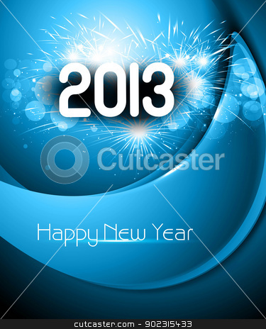 Happy new year 2013 blue colorful background stock vector clipart, Happy new year 2013 blue colorful background by bharat pandey
