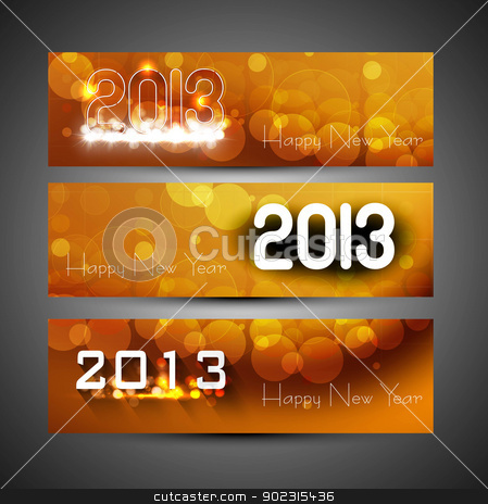 New year colorful header and banner set colorful vector design stock vector clipart, New year colorful header and banner set colorful vector design by bharat pandey