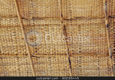Bamboo shack roof weave stock photo, Horizontal texture of a bamboo shacks roof with coconut leaf weave and bamboo cane struts. Generic tropical shack construction, location of shot, Goa India by Kantilal Patel