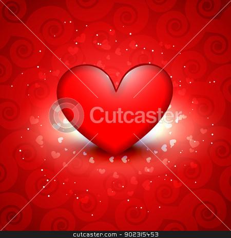 shiny red heart stock vector clipart, beautiful shiny red heart vector background by pinnacleanimates