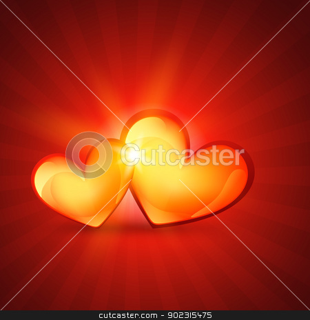 love heart design stock vector clipart, beautiful two heart love background by pinnacleanimates