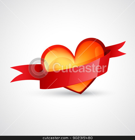 heart design with red ribbon stock vector clipart, vector heart design with red ribbon by pinnacleanimates