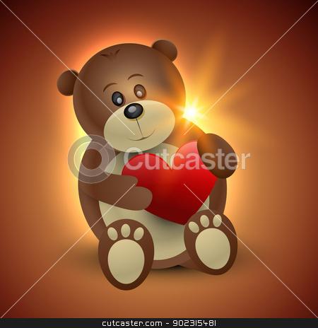 vector cute bear stock vector clipart, vector happy bear holding heart by pinnacleanimates
