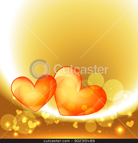 valentine day heart stock vector clipart, beautiful heart design in golden background by pinnacleanimates