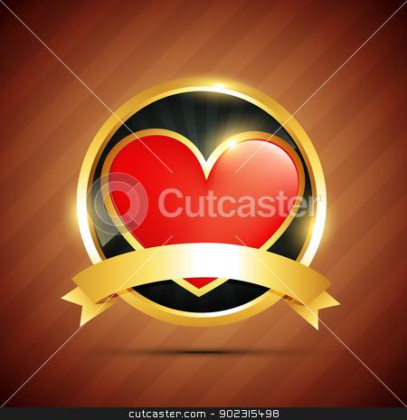 heart badge stock vector clipart, beautiful vector heart badge design by pinnacleanimates