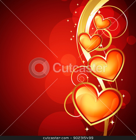 golden heart design stock vector clipart, beautiful golden heart design with space for your text by pinnacleanimates
