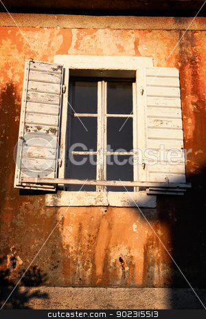 Rustic window stock photo, Rustic white window on brown wall by vaximilian