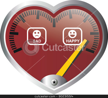 heart meter stock vector clipart, heart meter from sad to happy by Messias Bassile Junior