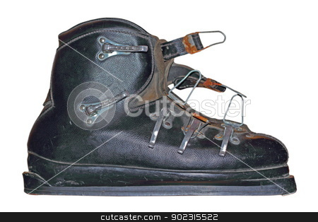 old sky boot stock photo, very old leather sky boot isolated over white background by coroiu octavian