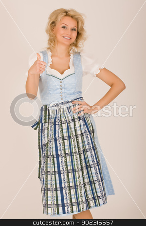 Bavarian beauty in costume stock photo, Bavarian Dirndl girls, thumbs up by Roland Stollner