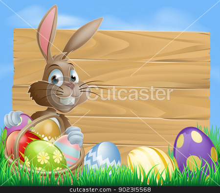 Easter bunny background sign stock vector clipart, A cute Easter bunny rabbit character standing by a wooden sign holding a basket of decorated Easter eggs surrounded by Easter eggs in a field   by Christos Georghiou