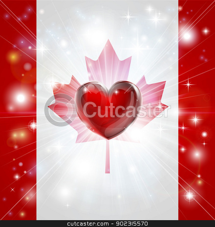 Love Canada flag heart background stock vector clipart, Flag of Canada patriotic background with pyrotechnic or light burst and love heart in the centre by Christos Georghiou