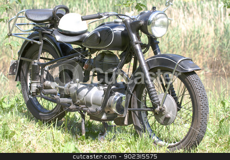 Motorcycle anno 1951 stock photo, Vintage motorcycle built in 1951, a Bavarian Motor Workshop by Roland Stollner