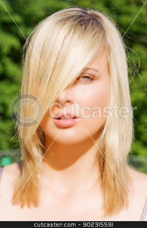 perfect face stock photo, Portrait of a Young Woman with trendy hair style by Roland Stollner