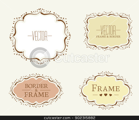 floral frames stock vector clipart, Set of floral vector frames and ornaments  by Miroslava Hlavacova
