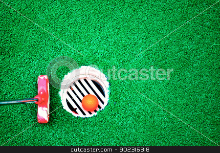 Mini golf and green background stock photo, Mini golf and green background by Liane Harrold