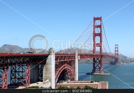 Golden Gate stock photo, The Golden Gate bridge in San Francisco California. by Henrik Lehnerer
