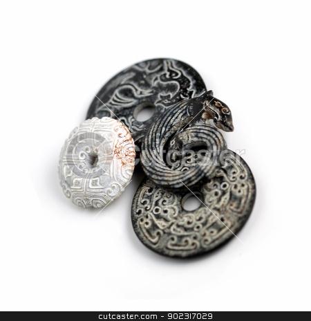 Jade Black And White stock photo, Chinese Bi Disks made from black and white jade. by Henrik Lehnerer