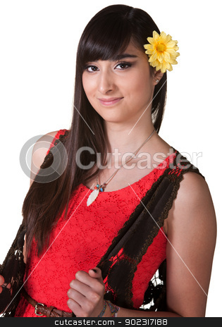 Cute Latina in Red stock photo, Cute Latina with yellow flower in hair over white by Scott Griessel