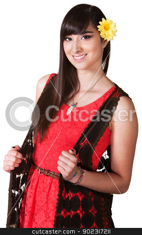 Smiling Woman in Red Dress stock photo, Gorgeous Hispanic female with flower in hair by Scott Griessel