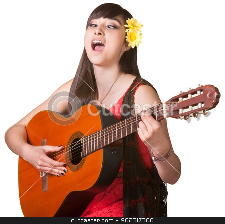 Guitarist with Cross Eyes stock photo, Young woman with cross eyes playing guitar and singing by Scott Griessel