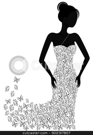 Silhouette of a girl in a flying apart dress stock vector clipart, Silhouette of a girl in a butterfly dress flying apart by Allaya