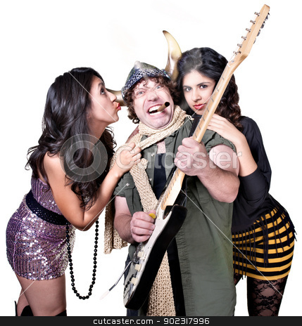 Musician with Cute Fans stock photo, Rock guitar player with two beautiful female fans by Scott Griessel